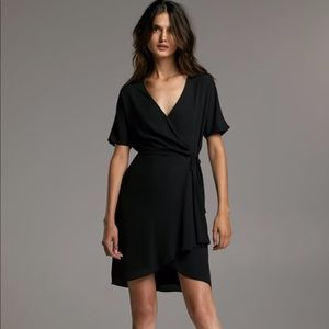 Aritzia Babaton Wallace Black Wrap Tie Dress XS